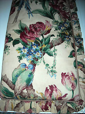 Vintage 30's fabric bench cushion birds   Barkcloth era