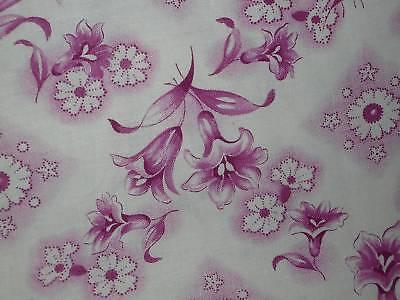 Altes  Bauernstoff  Bauernbettwäsche -Stoff Pink  Blumen   100  cm /80 Unbenuzt