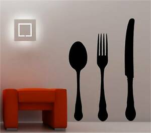 Fork And Spoon Wall Art giant knife fork spoon wall art sticker vinyl kitchen | ebay