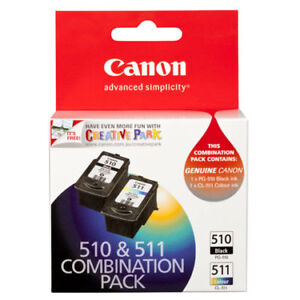 2 Canon Genuine inks PG510 + CL511  PG-510 CL-511 MP240