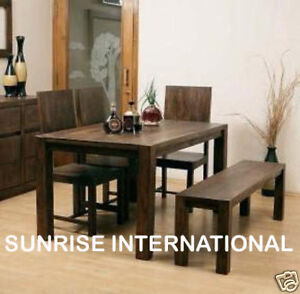 Image Is Loading Wooden Dining Table 4 Chair 1 Bench Furniture