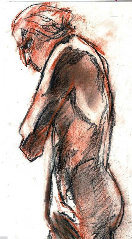 "MALE NUDE by RUTH FREEMAN PASTEL 6 3/4"" X 15"" 1974"