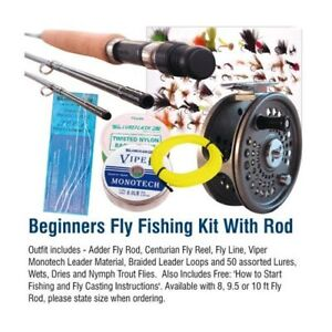 Beginners fly fishing kit with 9 5ft rod new sale ebay for Beginners guide to fishing