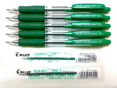 5 Pens 2 Refills Pilot Super Grip 0.7mm Fine Point Ball Ballpoint Pengreen