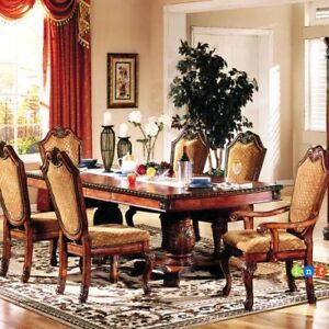 7pc high end cherry oak dining room set table and chair