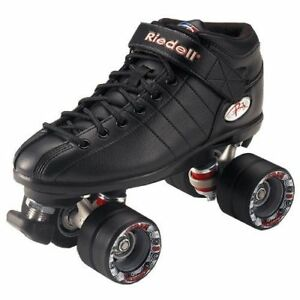 Riedell-R3-Size-6-Black-Quad-Roller-Skate-Derby-Speed