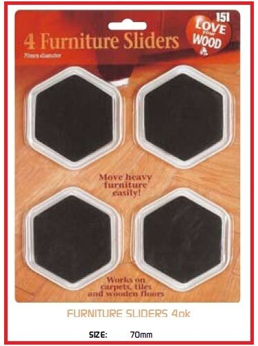 4 PACK FURNITURE SLIDERS GLIDERS MOVERS PROTECT CARPET WOOD LAMINATE FL