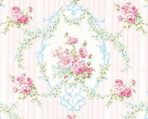 Cotton-100-Bedding-Clothworks-Fabric-Elegant-Rose-Floral-Stripe-Damask-44-034-W-BTY