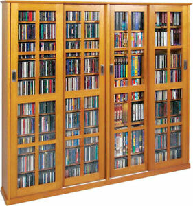Image is loading Sliding-Glass-Door-1400-CD-672-DVD-Storage-