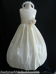 Ivory-dress-color-sash-taffeta-prom-flower-girl-dress-pageant-wedding-all-size