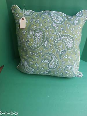 Frontgate Paisley Apple Outdoor Sofa Throw Pillow Sunbrella Blue Green Piping