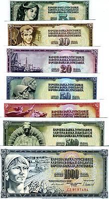 Yugoslavia, Set, 5;10;20;50;100;500;1000 1968-1986, UNC