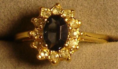 12 Ladies' 18kt. Gold Overlay Blue Sapphire & Crystal Design Rings In Sizes 6-9