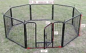 New-Black-8-Panel-24-034-Heavy-Duty-Pet-Playpen-Dog-Exercise-Pen-Cat-Fence-B