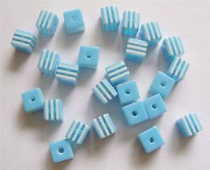 30-Plastic-Acrylic-Resin-Candy-Stripe-Cube-Beads-Sky-Blue-White-8mm