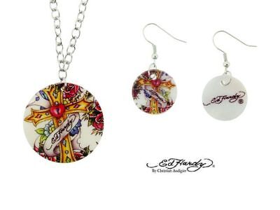 Ed Hardy Cross Shell Necklace & Earrings Set
