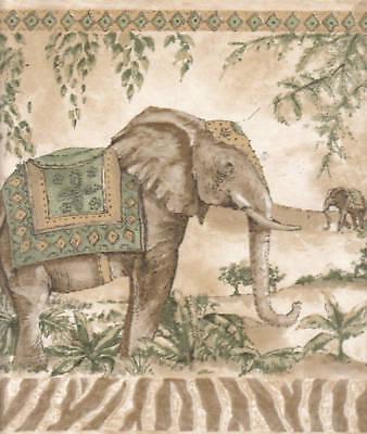 Elephants & Tropical Birds Beige/ Green/wallpaper Border Wall