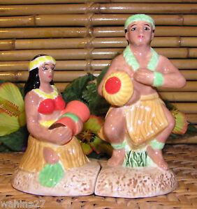 NIB-Hawaiian-Hula-Couple-Ceramic-Salt-Pepper-Shakers