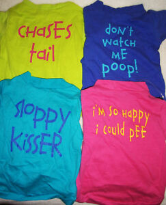 Dog-Clothes-T-Shirt-FUNNY-PHRASES-size-XS-S-M