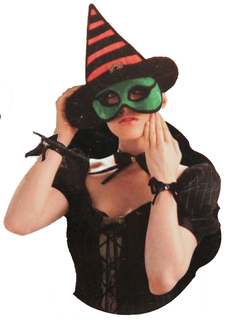 4-set Witch Costume Kit Mask Choker Cuffs Womens Hat Adult Easy Wicked Green