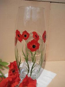 Hand-Painted-Large-Barrel-Vase-Red-Poppy-Vase