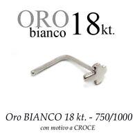 Piercing Da Naso Nose Oro Bianco 18kt.con Croce Liscia White Gold With Cross -  - ebay.it