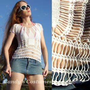 WHITE-CROCHET-TOP-Bikini-COVER-UP-Beach-RESORT-Cotton-T-SHIRT-See-Through-10-12