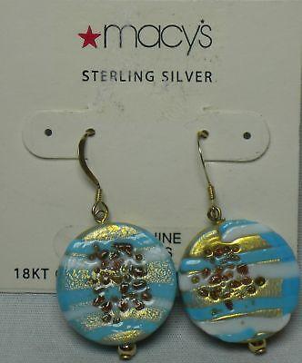 Macy's Women's Fashion Glass 18kt Gold Over Sterling Silver Earrings Msrp$40.00