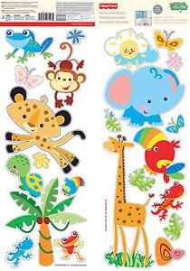 FISHER-PRICE-RAINFOREST-ANIMALS-Baby-Animals-Wall-Stickers-Room-Decor-Decals-B1