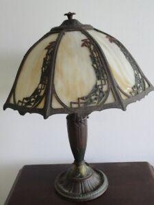 Rainaud Art Nouveau 8 Panel Slag Glass Lamp Signed Ebay