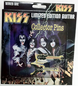 KISS LIMITED EDITION TWO (2) GUITAR COLLECTOR PINS WITH DISPLAY CASE ($29.95rrp)
