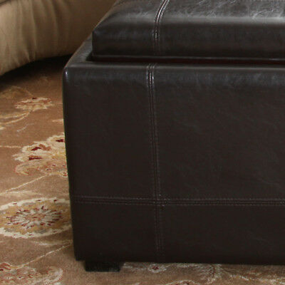 3pcs brown leather storage ottoman tray top coffee table nested footstools ebay Brown leather ottoman coffee table