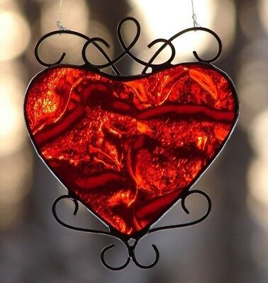 Stained Glass Red Valentine Heart