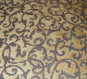 Cream and Taupe with Burgundy Print Chenille Upholstery Fabric 206