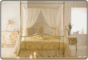 letto matrimoniale baldacchino in ferro con tendaggio velato | ebay - Camera Da Letto Con Baldacchino