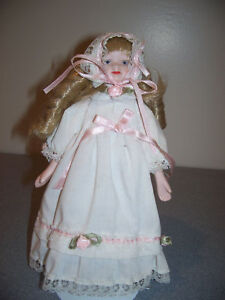 """8"""" PORCELAIN BISQUE DOLL cloth body MADE IN TAWAIN"""