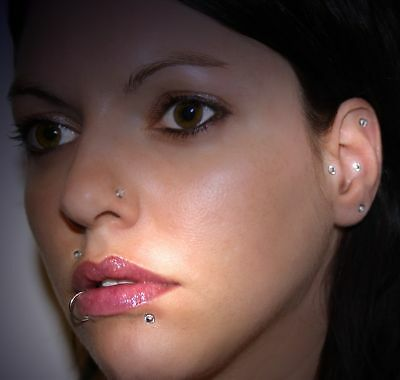 Fakepiercing Nase Ohr Lippe Strass Zirkonia Glitzer fake piercing 8 teilig