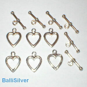 6 Sets Sterling Silver HEART Shape TOGGLE Clasps Lot