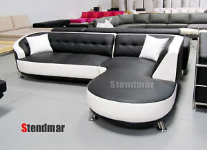 2pc new modern euro design leather sectional sofa s89r ebay for Sofa 50 euro