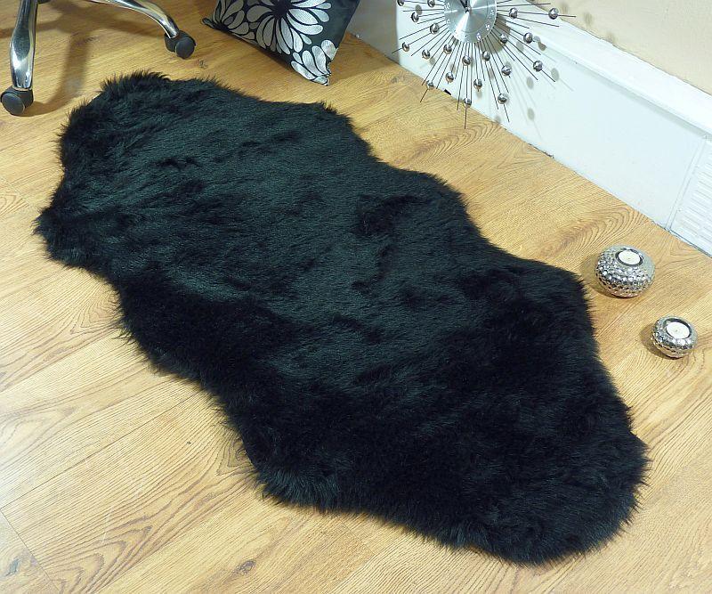 Black Faux Fur Double Sheepskin Style Rug 70 X 140cm Washable