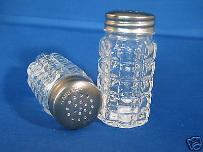 Salt & Pepper Shaker Set- 2oz. / Glass with Stainless Steel ~ Retro Design! New