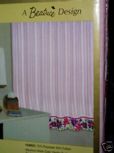Pink White Striped Purple Floral Fabric Shower Curtain EBay