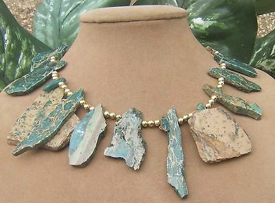 Green Teal Tan Gold Vein Raw Turquoise Freeform Gold Necklace Natural Jewelry Lg