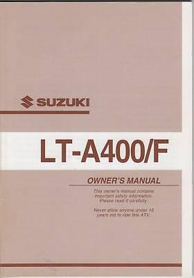 2002 Suzuki Atv 4 Wheeler Lt-a400/f Owners Manual