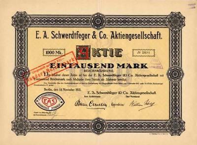 E.A. Schwerdtfeger & Co AG Berlin historische Aktie 1921 Druckerei EAS Oppenheim