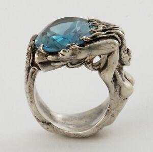 Handcrafed-Beauty-Sterling-Full-Figured-of-Mermaid-Ring