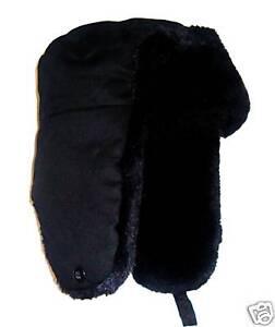 WINTER-COSSACK-TRAPPER-HAT-BOYS-13-16-SKI-BLACK-FUR