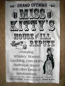 350-OLD-WEST-SALOON-MISS-KITTYS-DODGE-CITY-BROTHEL-NOVELTY-POSTER-11-x17