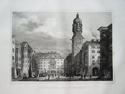 Insbruck Marktplatz Österreich Stahlstich 1840