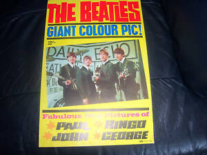GENUINE-THE-BEATLES-EARLY-GIANT-POSTER-LOFT-FIND-PYX-ORIGINAL-1964-STUNNING